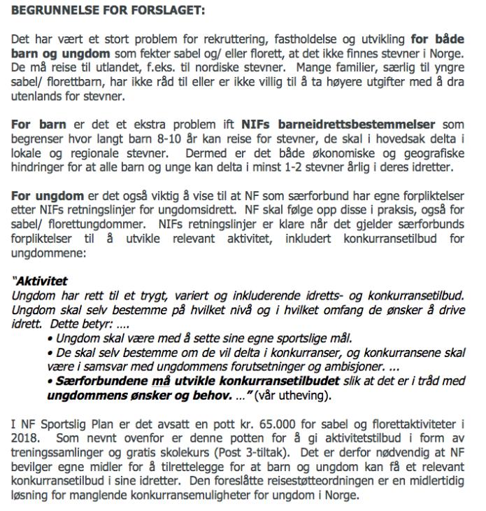 KrsFK begrunnelse for forslag om reisestøtte til sabel:florettungdom